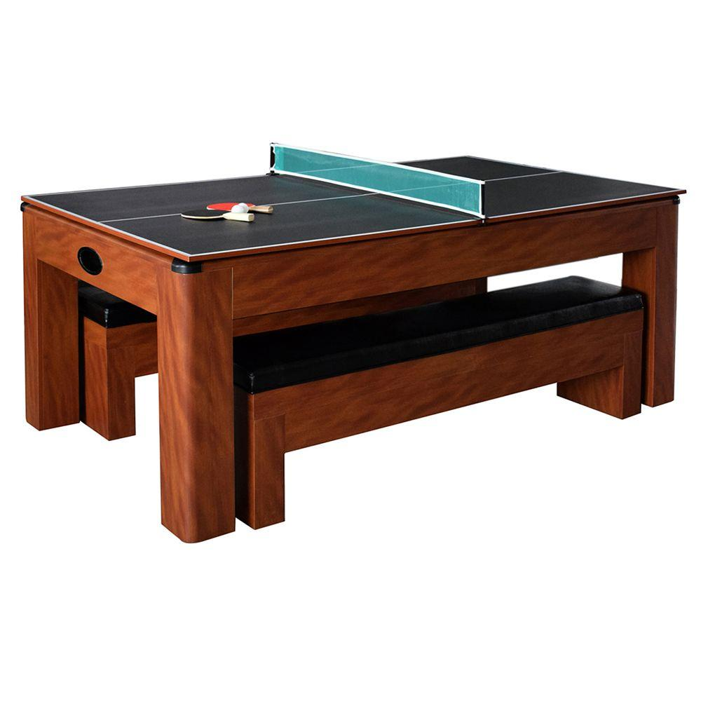 Hathaway Sherwood 7ft Multi Game Table with Dining Top & Benches - Game Tables