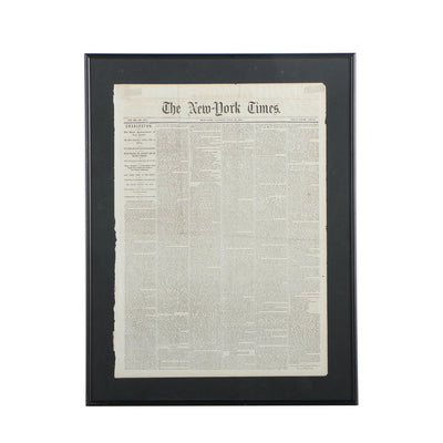 "1863 ""New York Times"" Cover Page (Naval Battle at Charleston)"