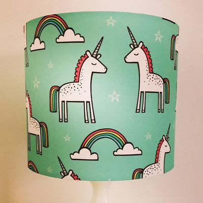 Unicorns & Rainbows Lampshade - Mint