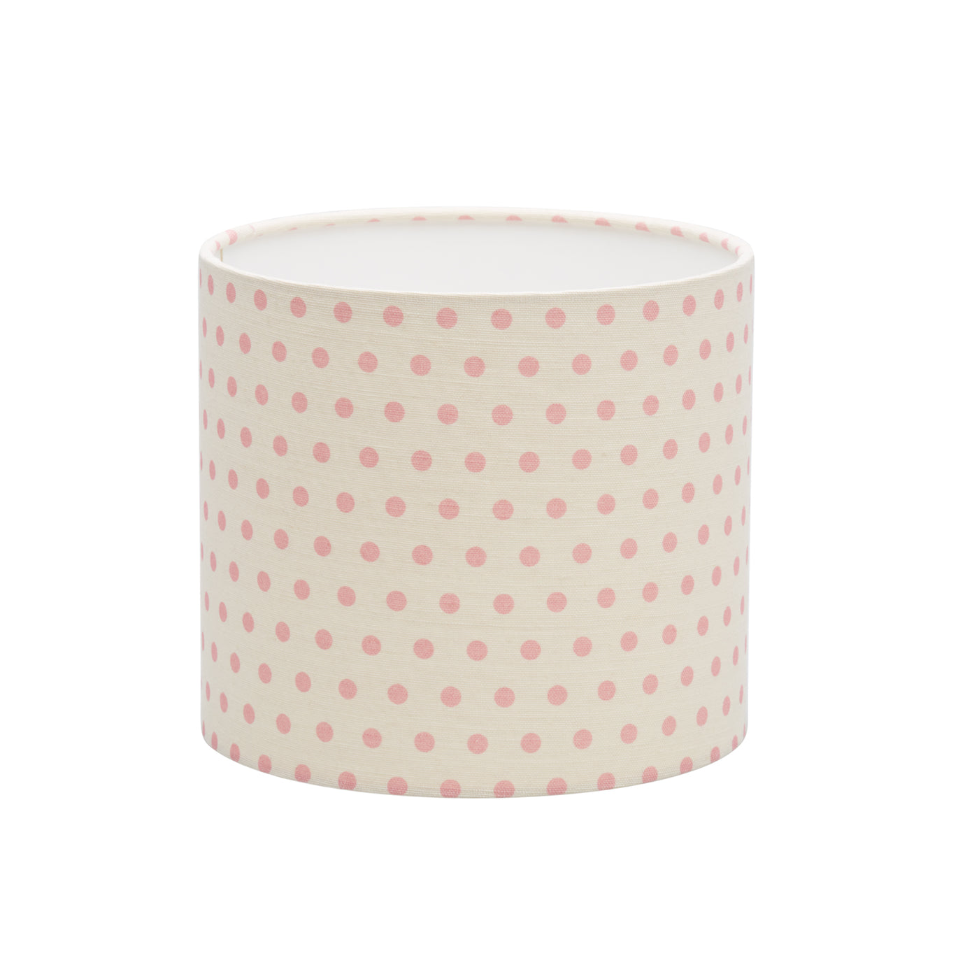 Spotty Pink on Ivory Linen Lampshade