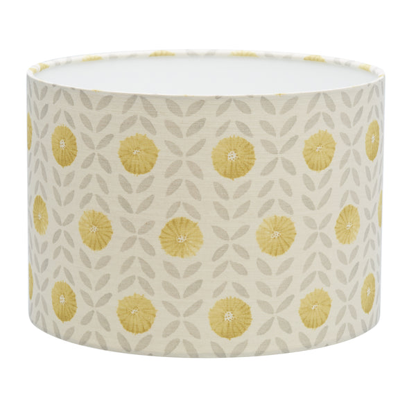 Grey & Yellow Willowherb Linen Lampshade