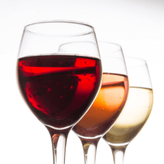 Red Rose White Wine Poured In Glasses