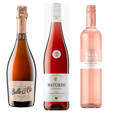 Fruity & Refreshing Alcohol Free Rosé Wines Pack Belle Co Natureo Torres Black Tower Deliciously Light Rose