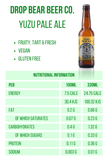 Drop Bear Beer Co Yuzu Pale Ale 0.4% - 330ml Nutrtional Information Vegan Gluten Free Energy Fat Sugars Carbohydrates £1.99
