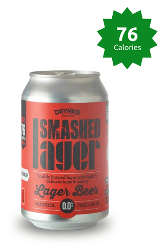 Drynks Unlimited Smashed Lager 0.0% - 330ml 76 Calories Good Stuff Drinks Alcohol Free Non Alcoholic Craft Beer