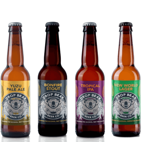 Fierce Flavours Pack from Drop Bear Beer Co Alcohol Free Beer Yuzu Pale Ale Tropical IPA Bonfire Stout Good Stuff Drinks Alcohol Free Non Alcoholic Craft Beer New World Lager