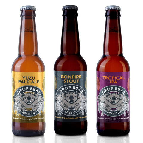 Fierce Flavours Pack from Drop Bear Beer Co Alcohol Free Beer Yuzu Pale Ale Tropical IPA Bonfire Stout Good Stuff Drinks Alcohol Free Non Alcoholic Craft Beer