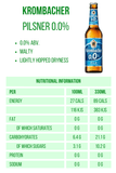 Krombacher Pilsner 0.0% - 330ml Alcohol Free Beer 89 calories Nutritional Information