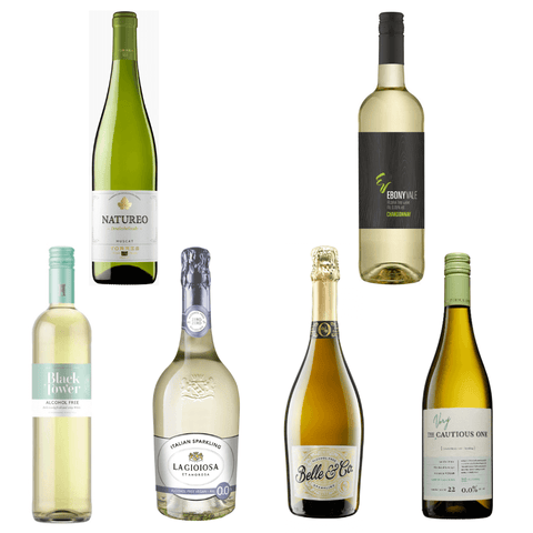 Alcohol Free White Wine Pack Black Tower Ebony Vale Natureo Torres La Gioiosa Belle & Co Very Cautious One