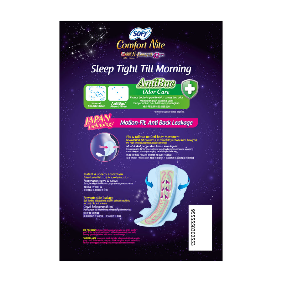 Sofy Body Fit Night Slim Wing Anti Bacterial 42cm 8's