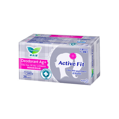 Laurier Active Fit Pantyliners Deodorant Ag+ 36's