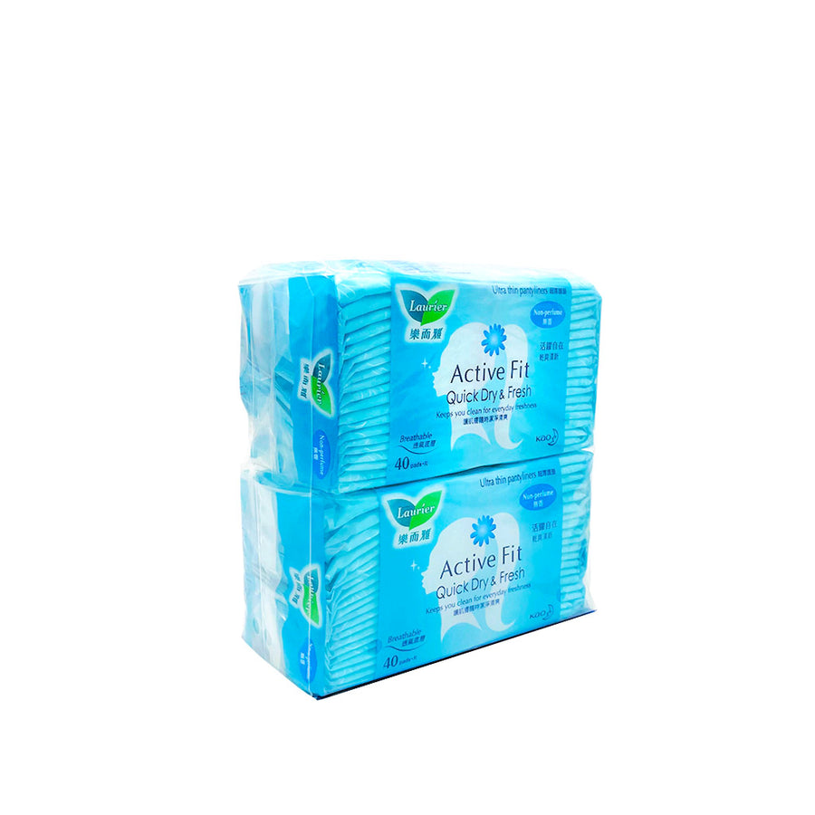 Laurier Pantyliner Active Fit Non Perfume 40's (Twin Pack)