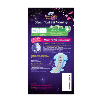 Sofy Body Fit Night Slim Wing Anti Bacterial 35cm 14's
