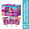 Whiskas Pouch Multipack Mackerel, Ocean Fish Mackerel & Salmon 85g