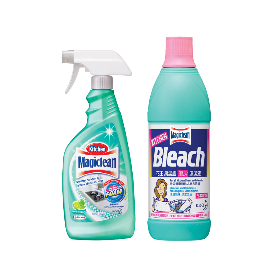 Magiclean Kitchen Cleaner Lime 500ML + Kitchen Bleach 600ML