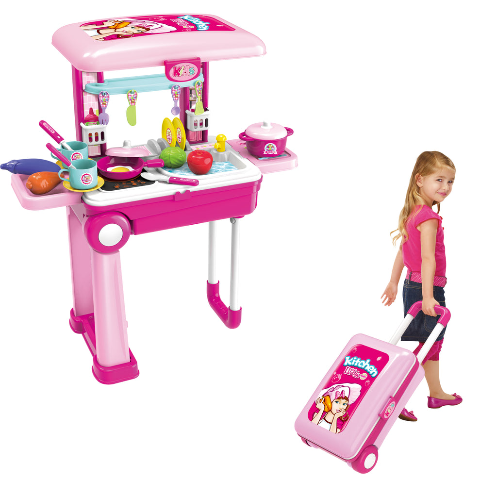 Little Chef 2 In 1 Luggage Kitchen Set Toy Chef