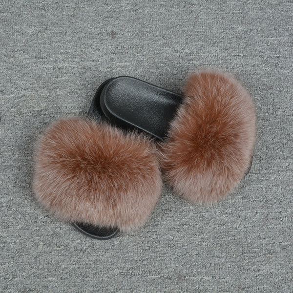 Caramel Frosted Fox Fur Slides