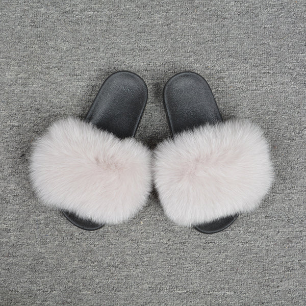 Cream Fox Fur Slides