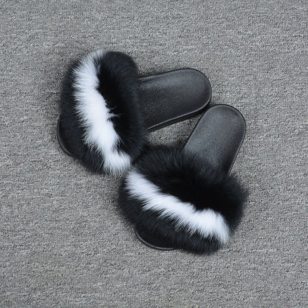Black & White Fox Fur Slides