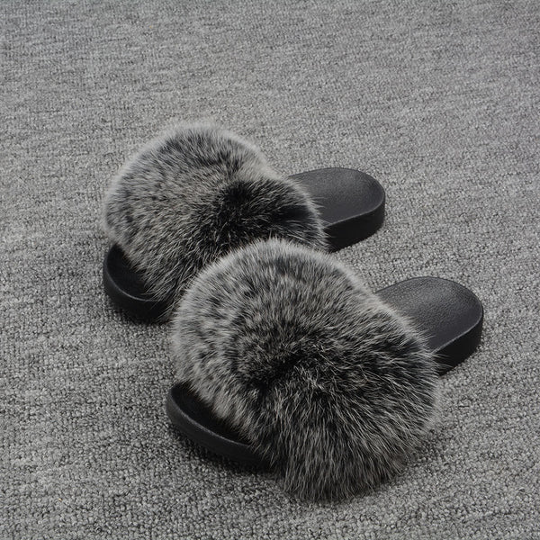 Black Frosted Fox Fur Slides