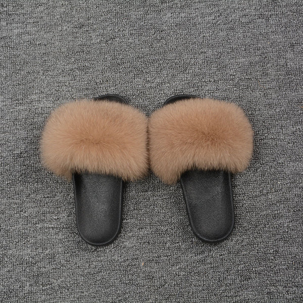 Caramel Fox Fur Slides