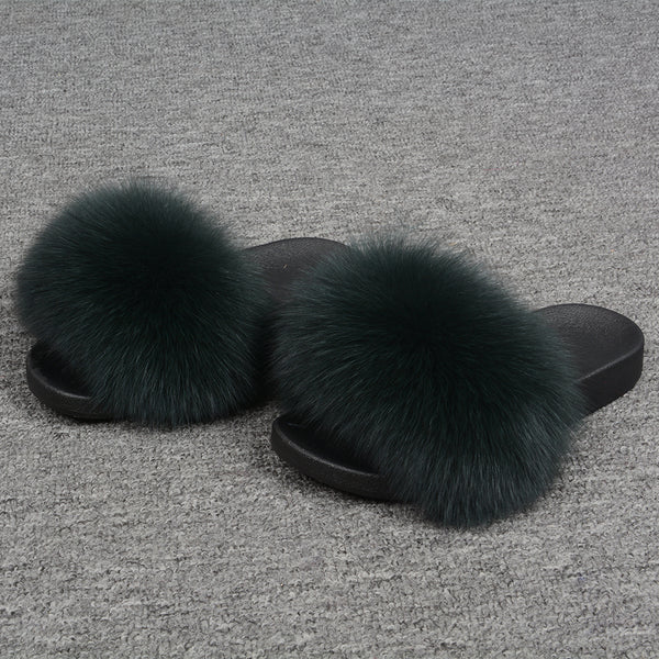 Dark Green Fox Fur Slides