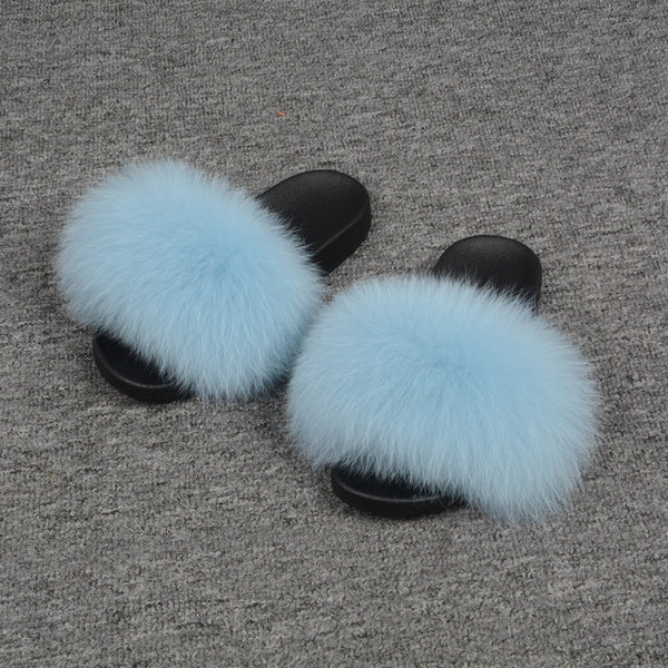 Baby Blue Fox Fur Slides