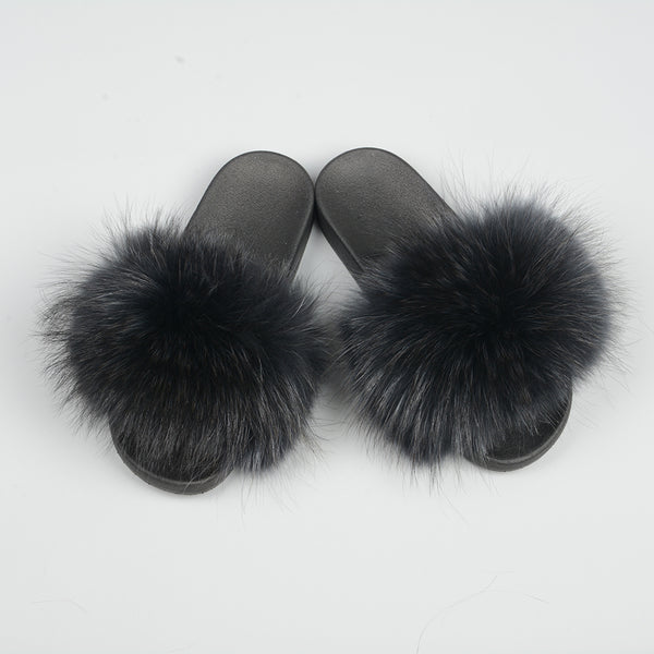Black Raccoon Fur Slides