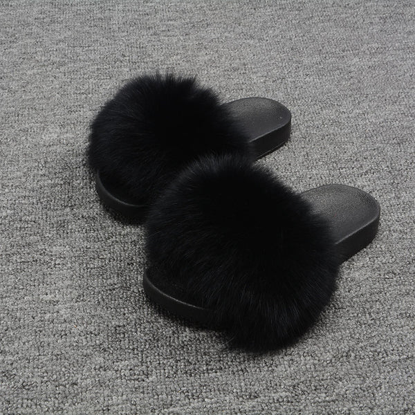Black Fox Fur Slides