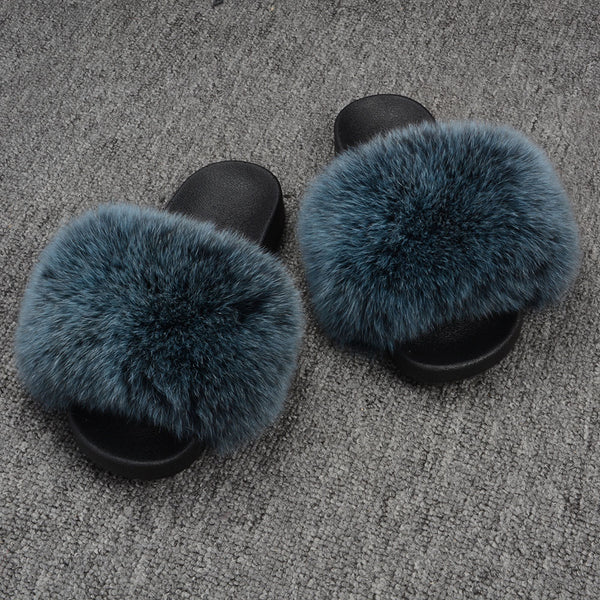 Blue Frosted Fox Fur Slides