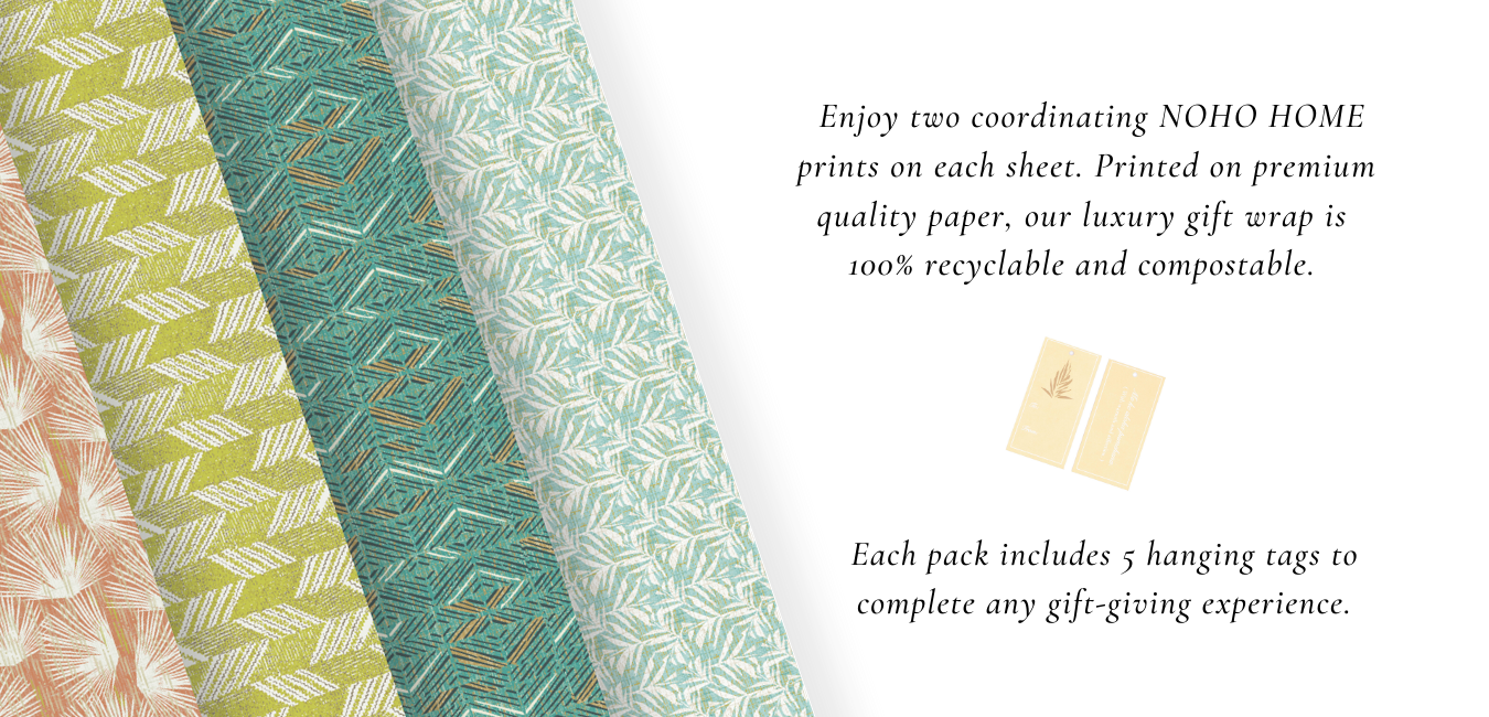Our luxury gift wrap is  100% recyclable and each package includes 5 tags to complete any gift-giving experience.