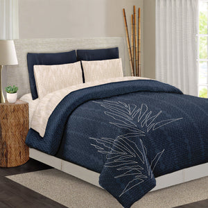 blue ho'o hiamoe Hawaiian inspired duvet cover front