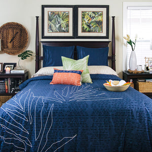 blue ho'o hiamoe Hawaiian inspired duvet cover