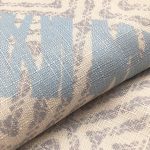 light blue/taupe Hawaiian inspired kapua kai shower curtain closeup