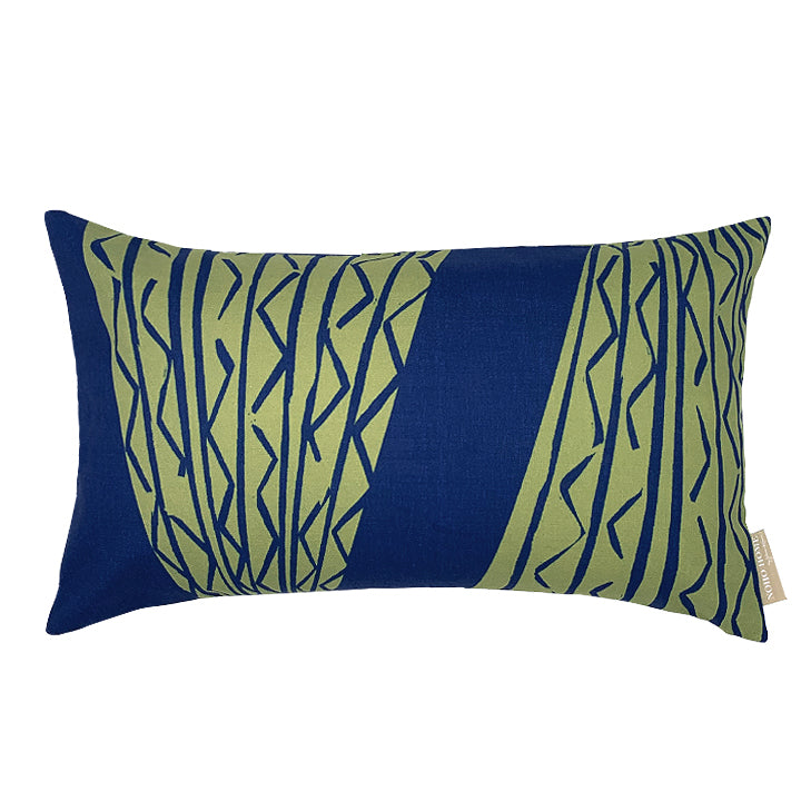 Moss/Navy hawaiian inspired niho kila lumbar pillowcase