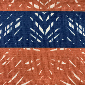 rust/navy hawaiian inspired batik lumbar pillowcase closeup