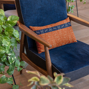 rust/navy hawaiian inspired batik lumbar pillowcase