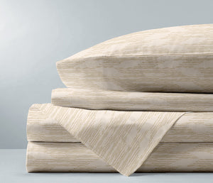 taupe Hawaiian inspired Pili luxury sheet set folded