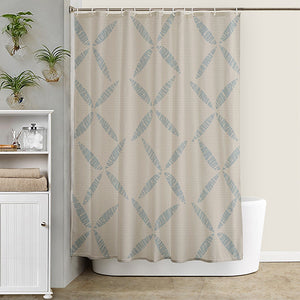 light blue/taupe Hawaiian inspired kapua kai shower curtain