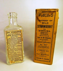 Original Fowler`s glass bottle from early 1900s