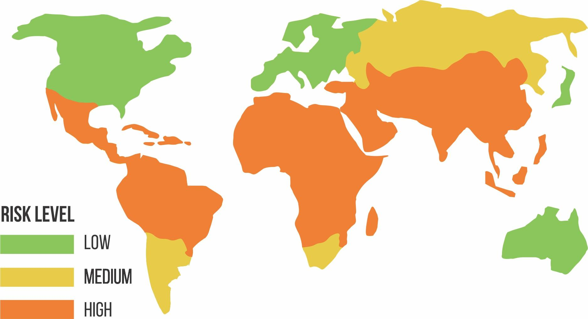 Map of diarrhea risk levels around the world