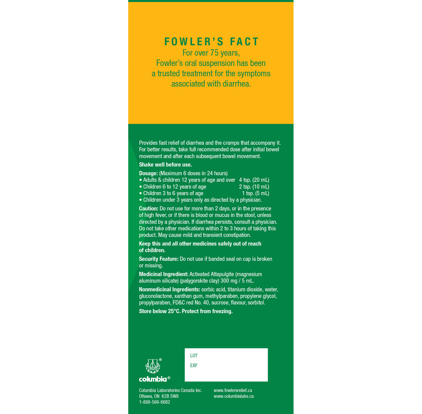 Fowler's Anti-Diarrheal Oral Suspension for Diarrhea and Cramps