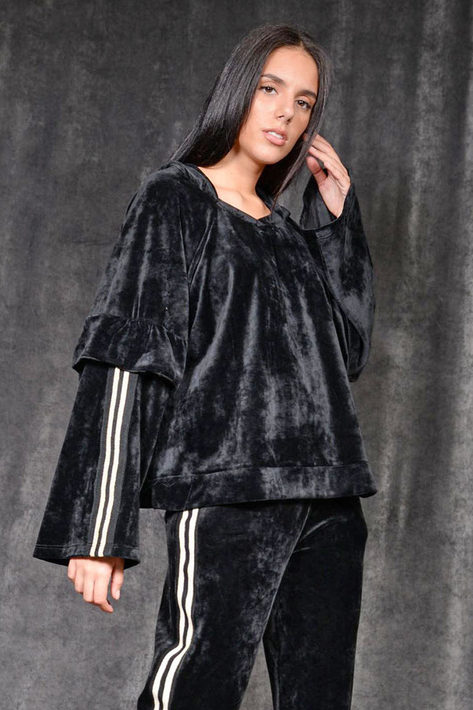VELVET TRACKSUIT SET WITH LINES