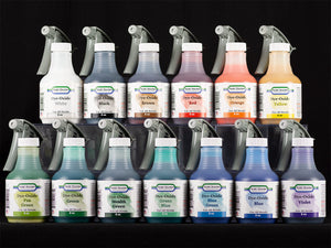 Sculpt Nouveau White, Black, Brown, Red, Orange, Yellow, Pea Green, Green, Stealth Green, Green Blue, Blue Green, Blue, and Violet Dye-Oxide Patinas in 8oz. spray bottles