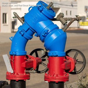 Sculpt Nouveau Black, Blue, and Red Great Paint on an outdoor iron backflow preventer