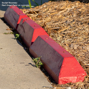 Sculpt Nouveau Red Great Paint on outdoor concrete parking curbs