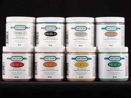 Sculpt Nouveau White, Black, Grey, Brown, Rust, Red, Yellow, and Green Prime-It in 8oz. containers