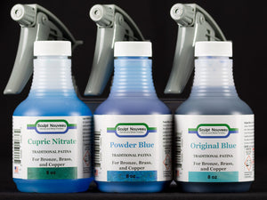 Sculpt Nouveau Traditional Cupric Nitrate, Original, and Powder Blue Patinas in 8 ounce bottles with spray tops