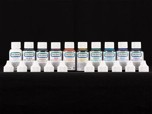 Sculpt Nouveau White, Black, Brown, Red, Orange, Yellow, Green, Blue-Green, Blue, and Violet Solvent Dye in 1oz. bottles
