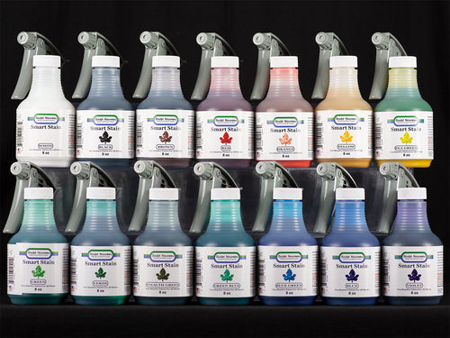 Sculpt Nouveau White, Black, Brown, Red, Orange, Yellow, Pea Green, Green, Verde, Stealth Green, Green-Blue, Blue-Green, Blue, and Violet Smart Stains in 8oz. spray bottles